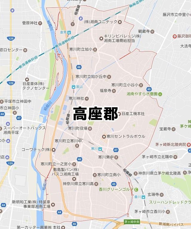 神奈川県高座郡寒川町のNURO光対応エリアマップ