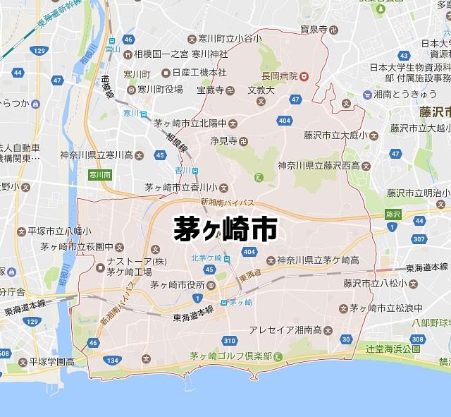 神奈川県茅ヶ崎市のNURO光対応エリアマップ