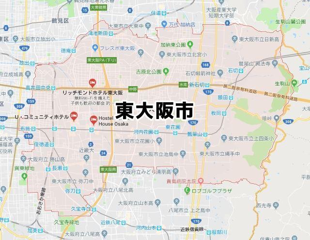 東大阪市のNURO光回線対応エリア...