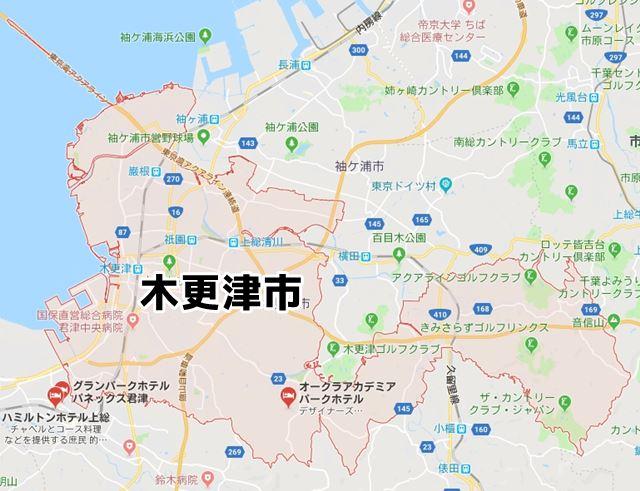 千葉県木更津市のNURO光対応エリアマップ