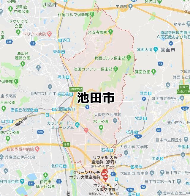 大阪府池田市のNURO光対応マップ