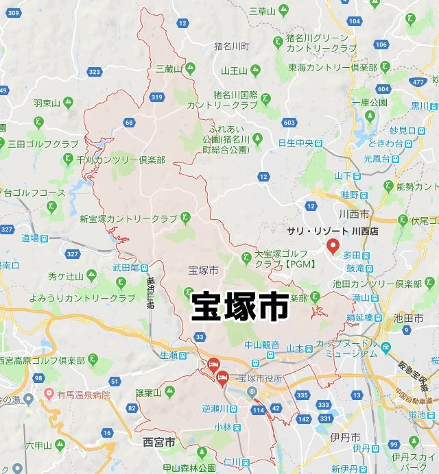 兵庫県宝塚市のNURO光対応マップ