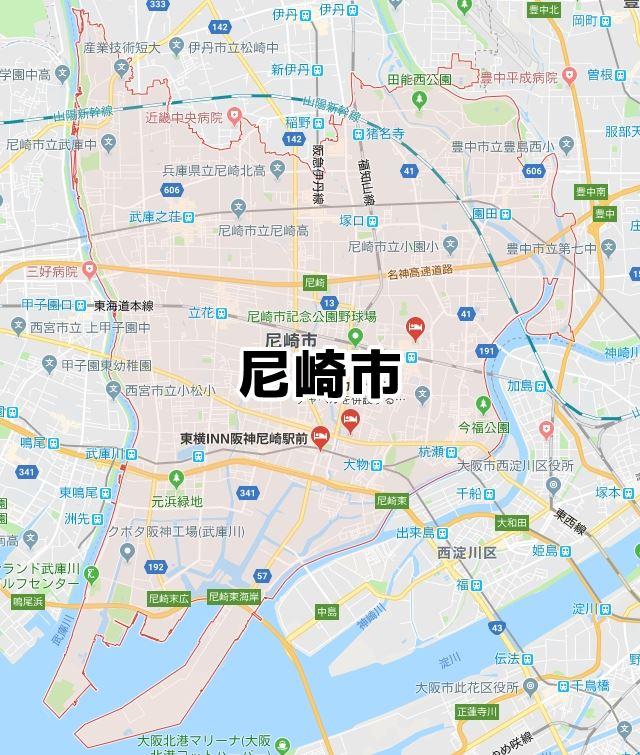 兵庫県尼崎市のマップ