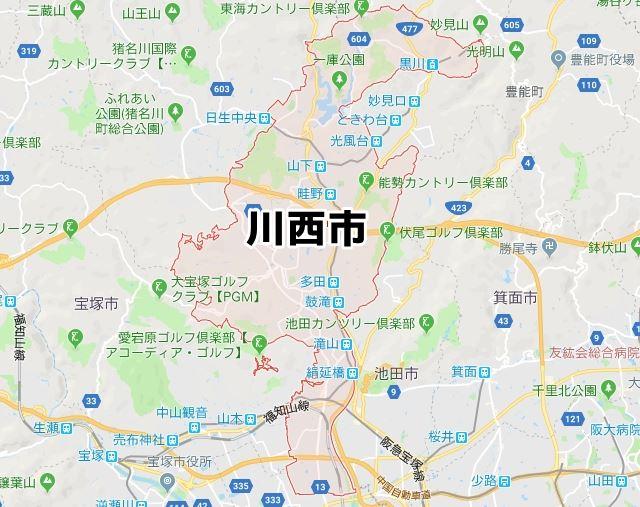 兵庫県川西市のマップ