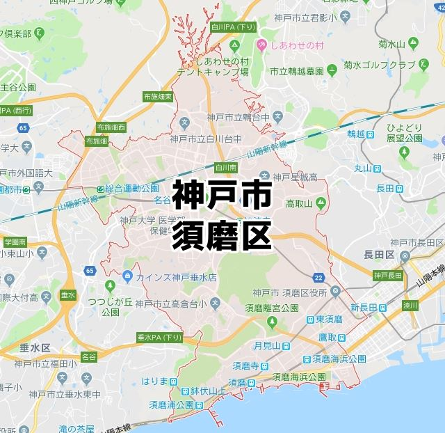 兵庫県神戸市須磨区のマップ