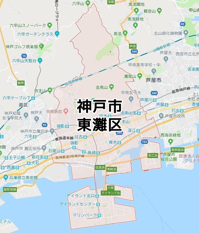 兵庫県神戸市東灘区のマップ
