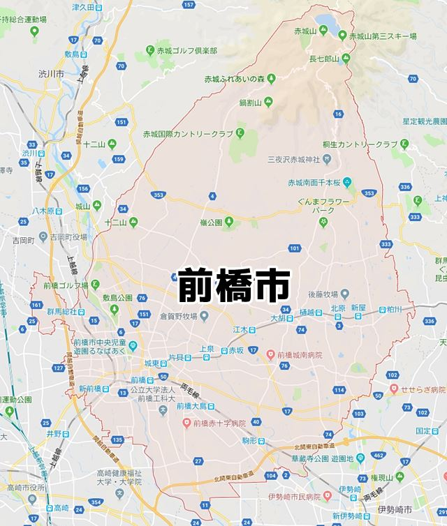 群馬県前橋市マップ