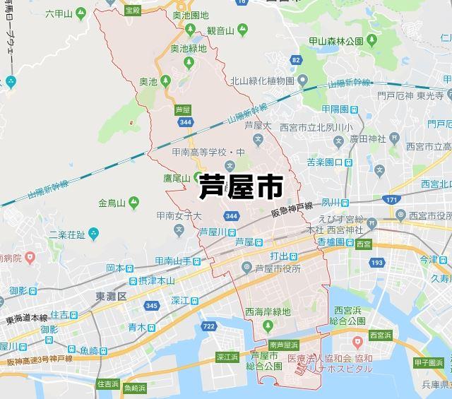 兵庫県芦屋市のマップ
