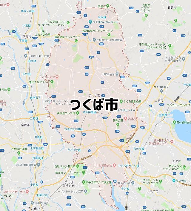 茨城県つくば市のマップ