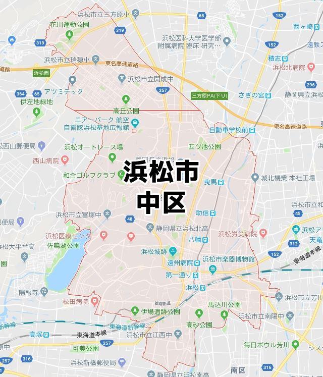 静岡県浜松市中区のマップ
