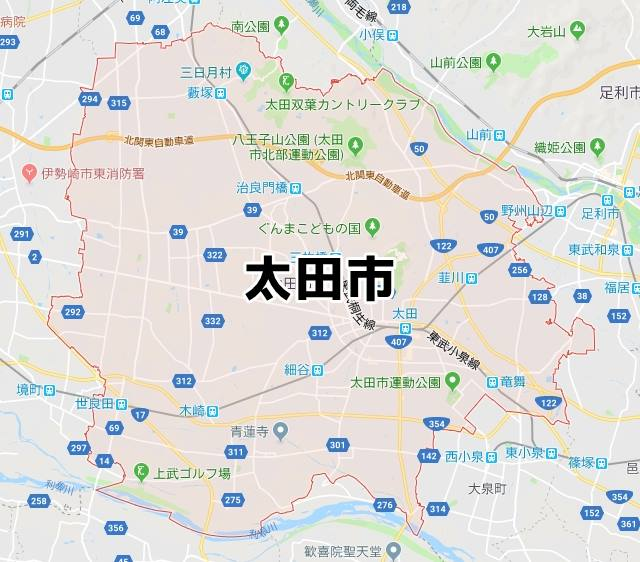 群馬県太田市のマップ