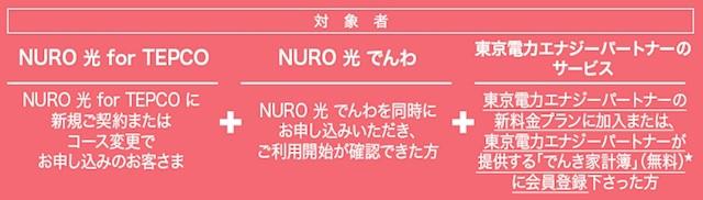 NURO光 for TEPCOのキャンペーン特典適用条件