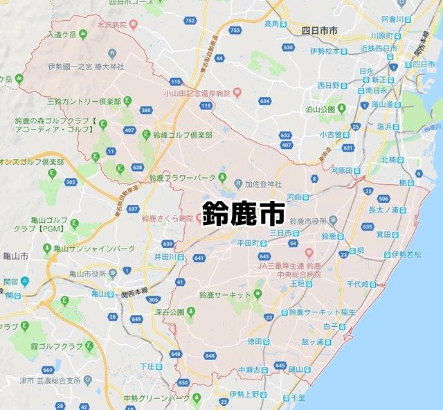 三重県鈴鹿市マップ