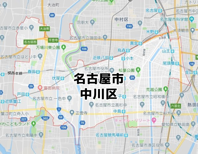 愛知県名古屋市中川区マップ