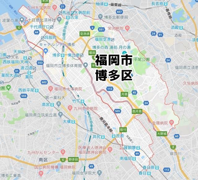 福岡県福岡市博多区のマップ