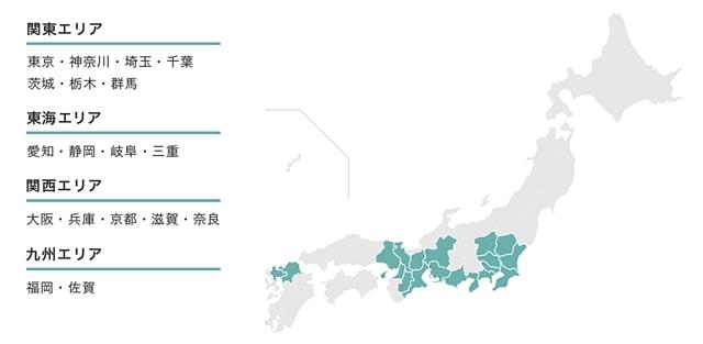 NURO光のエリア日本地図