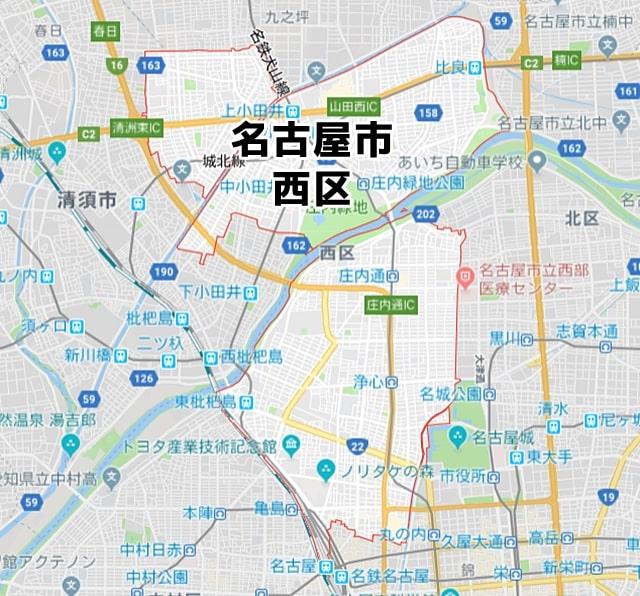 愛知県名古屋市西区マップ