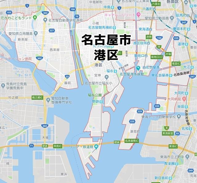 愛知県名古屋市港区マップ