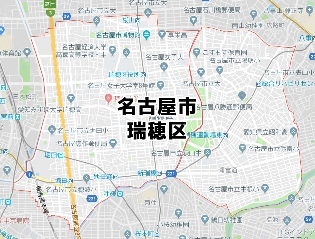 愛知県名古屋市瑞穂区マップ