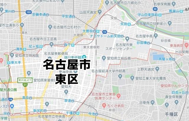 愛知県名古屋市東区マップ