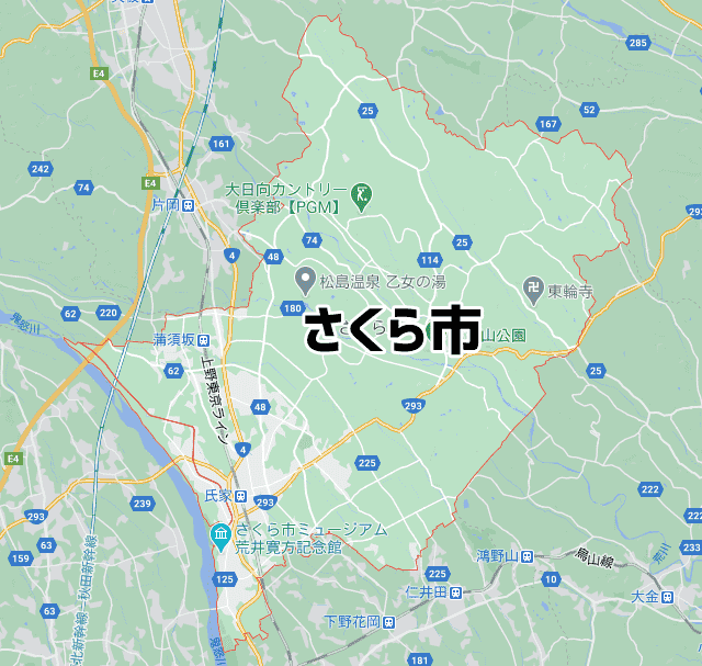 栃木県さくら市マップ